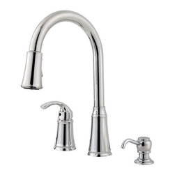 "Pfister - Pfister F-WKP-650C Polished Chrome Classic Classic Pullout Spray - Classic Pullout Spray Professional Kitchen Faucet with Soap Dispenser Low LeadThe Classic collection of bathroom and kitchen fixtures from Pfister is an entry-level series that features a wide range of products. The bathroom faucets are available in centerset and widespread configurations and are complemented by a Roman tub filler. In the kitchen, single or double handle faucets come with great options like pullout spray spout, side spray, and soap dispenser. The entire Classic collection is available in two different finishes.All brass faucet body construction - Weight: 7.63 LBS8"" centers, 3 hole installations2 metal lever handlesEscutcheon (cover plate) for existing three hole installations is includedIndustry leading, lifetime ceramic disc valveEquipped with pull-out spray nozzleMatching soap / lotion dispenser includedSpout swivels up to 180 degrees for increased versatility2.2 gallon-per-minute flow rateInstalls onto decks (counter tops) up to 1.5"" thickLow lead compliant - complies with state-mandated low-lead requirements for plumbing productsDesigned for use with standard US plumbing connectionsAll necessary mounting hardware includedFully covered under Pfister s Pforever Lifetime WarrantyAbout PfisterFounded in 1910, Pfister (previously known as Price Pfister) is one of AmericaÂ's oldest and most experienced plumbing companies. As the first faucet manufacturer in the world to offer a lifetime warranty on their products, quality has always been the cornerstone of Pfister faucets. Brass bodies, ceramic disc valves, and lifetime PVD finishes name a few of the features youÂ'll find in their product line. You will also find innovative designs. In the last 100 years, Pfister pioneered many of the faucet varieties that have helped to define the industry today. This kind of market presence"