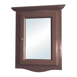 Renovators Supply - Medicine Cabinets Dark Oak Fin Hardwood Corner Medicine Cabinet | 14337 - Corner Medicine Cabinet with Mirror. This beautiful corner hardwood medicine cabinet has a golden oak stain finish. Space-saving design conveniently maximizes bathroom space. It comes with a front mirror and wooden knob located on the left side. Opens from the left side towards the right side. The interior is white and easily wipes clean, and has one shelf. Easy to install on flush to the wall (not recessed) and comes with mounting screws. Overall measures with decorative molding 27 1/8 inch H x 20 1/8 inch W x 10 1/4 inch projection