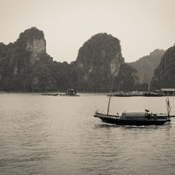 "Fisherman's House, 16x24"" fine art sepia photograph - A sepia-colored fine art photograph of a fisherman plying his boat/house across Ha Long Bay, Vietnam. Available as a 16x24"" limited edition fine art photograph, printed archivally on photo rag paper. Unframed."