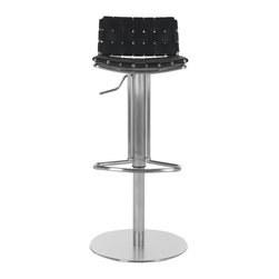 Safavieh - Safavieh Floyd Gas Lift Barstool X-B0003XOF - Choose the Floyd Gas Lift Barstool for stylish comfortable seating that adjusts to your needs. With Black woven bonded-leather seat and back contrasting a sleek stainless steel base, pedestal and footrest, Floyd offers fashion and function.
