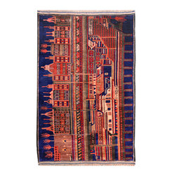 """ALRUG - Handmade Blue Oriental Tribal Pictorial Rug 2' 9"""" x 4' 5"""" (ft) - This Afghan Pictorial design rug is hand-knotted with Wool on Wool."""