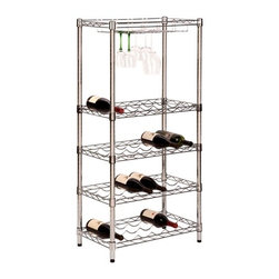 5-Tier Wine Rack - Honey-Can-Do SHF-02922 5-Tier Urban Wine Rack, Chrome. Customize your wine storage with this urban wine rack from Honey-Can-Do. Featuring 24 wine bottle cradles and four stemware caddies, this contemporary shelf allows you to present your wine collection and still be organized. Adjustable shelving lets you move the location of the shelves in one inch increments to accommodate wine bottles of all shapes and sizes. Steel construction is durable and easy to clean and a brilliant chrome finish complements any decor.