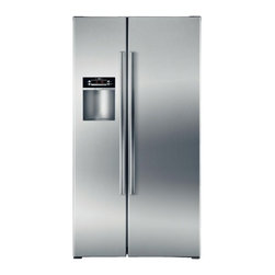 Bosch - B22CS30SNS Linea 22.0 cu. ft. Counter-Depth Side by Side Refrigerator with Adjus - Built for longevity and class the Linea 221 Cu Ft Side-by-Side Refrigerator features a sleek Stainless Steel look and waterice dispenser on the door Dual Evaporator keeps the air-flows and aromas separate between the fridge and the freezer Energy sta...