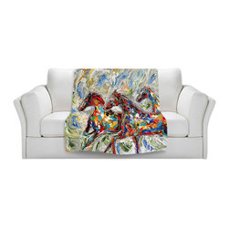 DiaNoche Designs - Throw Blanket Fleece - Abstract Wild Horses - Original Artwork printed to an ultra soft fleece Blanket for a unique look and feel of your living room couch or bedroom space.  DiaNoche Designs uses images from artists all over the world to create Illuminated art, Canvas Art, Sheets, Pillows, Duvets, Blankets and many other items that you can print to.  Every purchase supports an artist!