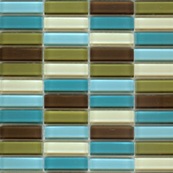 """Lush 1/2x2"""" Modern Mini Glass Subway Tile Blend Big Sur - Nothing invigorates a space like great tiles. These small glass tiles in shades of blue, beige and army green will add retro flair to any style space. The beauty of mid-century modern is how easily it blends with other styles to create individualized spaces. When I grow tired of my all-white kitchen, I can see these as the backsplash behind my gas stove."""