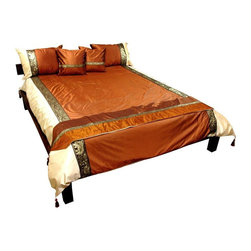 Oriental Furniture - Thai Silk Elephant Duvet Set - Bronze - Queen - This authentic Thai bedding set has been hand-sewn richly colored, high quality  silk. The outstanding high luster bronze fabric is accented by a pale accent trim, and accentuated by exotic Thai elephant and flower border patterns.