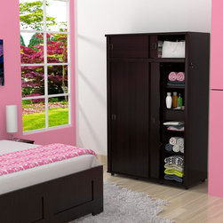 Inval America LLC - Inval Sliding Door Armoire - The Inval Sliding Door Armoire is a modern and functional storage solution for any home. This armoire is laminated in double-faced durable melamine which is stain, heat and scratch resistant.