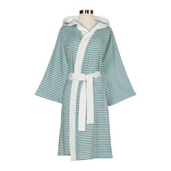 Nine Space - Knee Length Striped Jersey Knit Robe, White/Teal - Loungewear turned up a notch. Dressed from head to toe in stripes, this luxurious robe will wrap you in comfort whether poolside or bedside. It's made from an exceptionally soft and insulating jersey knit that provides just the right amount of lightweight warmth.