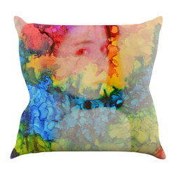 "Kess InHouse - Claire Day ""Clairefied"" Rainbow Paint Throw Pillow (16"" x 16"") - Rest among the art you love. Transform your hang out room into a hip gallery, that's also comfortable. With this pillow you can create an environment that reflects your unique style. It's amazing what a throw pillow can do to complete a room. (Kess InHouse is not responsible for pillow fighting that may occur as the result of creative stimulation)."