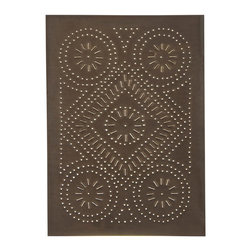 USA Handcrafted - Four Handcrafted Punched Tin Cabinet Panel Quilted Diamond Design, Blackened ...