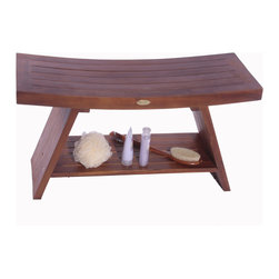 """Deco Teak - Asia 35"""" Teak Serenity Shower and Outdoor Bench with Shelf - The Deco Teak solid teak 35"""" Asia Serenity Shower Bench with shelf provides the feeling of Asia to your shower, bathroom, living room, or patio. The included shelf gives added versatility for storage of toiletries, books, or other essentials. It has a compact footprint of 35"""" long, and 13"""" wide, with a comfortable height of 18"""". The sides gently slope upwards giving its classic Eastern Zen flair. It has been styled on classic Zen design themes that provide calm, tranquility, and elegance to your setting. This is large piece, but it does not overpower its surroundings. Some of our customers have even called this a """"meditation bench"""". The gentle slope and large underneath shelf gives this bench the ability to be used in your hallway, outdoors, as an end table, as a sofa table, or even as a small coffee table for modern compact urban interiors or exteriors. For use in the shower, or outdoors, teak is naturally water resistant and resistant to molds. Our proprietary deep penetrating stain provides additional mold, mildew, and fungus inhibitors as well as increased longevity for use outdoors. Some assembly is required. Asian style, grace, and elegance; Handy storage shelf included; Indoor outdoor deep penetrating stain for water, mold, mildew, fungus, and sunlight resistance; Dimensions: 35"""" L x 13"""" W x 18"""" H"""