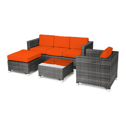 "Reef Rattan - Reef Rattan 4 Piece Conversation Sofa Set - Grey Rattan / Orange Cushions - Reef Rattan 4 Piece Conversation Sofa Set - Grey Rattan / Orange Cushions. This patio set is made from all-weather resin wicker and produced to fulfill your needs for high quality. The resin wicker in this patio set won't fade, shrink, lose its strength, or snap. UV resistant and water resistant, this patio set is durable and easy to maintain. A rust-free powder-coated aluminum frame provides strength to withstand years of use. Sunbrella fabrics on patio furniture lends you the sophistication of a five star hotel, right in your outdoor living space, featuring industry leading Sunbrella fabrics. Designed to reflect that ultra-chic look, and with superior resistance to the elements in a variety of climates, the series stands for comfort, class, and constancy. Recreating the poolside high end feel of an upmarket hotel for outdoor living in a residence or commercial space is easy with this patio furniture. After all, you want a set of patio furniture that's going to look great, and do so for the long-term. The canvas-like fabrics which are designed by Sunbrella utilize the latest synthetic fiber technology are engineered to resist stains and UV fading. This is patio furniture that is made to endure, along with the classic look they represent. When you're creating a comfortable and stylish outdoor room, you're looking for the best quality at a price that makes sense. Resin wicker looks like natural wicker but is made of synthetic polyethylene fiber. Resin wicker is durable & easy to maintain and resistant against the elements. UV Resistant Wicker. Welded aluminum frame is nearly in-destructible and rust free. Stain resistant sunbrella cushions are double-stitched for strength and are fully machine washable. Removable covers made with commercial grade zippers. Tables include tempered glass top. 5 year warranty on this product. Three Seater Sofa: W 71"" D 29"" H 27"", Chair: W 29"" D 29"" H 27"", Coffee Table: W 25"" D 25"" H 13"", Ottoman: W 25"" D 25"" H 13"""