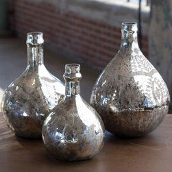 Antiqued Mercury Demijohn Wine Bottles - Mercury glass is one of my favorite ways to make a room sparkle. The beautiful curves of these wine bottles catch and reflect extra light, while their pleasing shapes are easy on the eye.