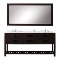 """Water Creation - Madalyn Espresso Bathroom Vanity 24"""", 30"""", 60"""", 72"""", 72"""" Wide, Vanity and 72"""" Mi - Water Creation Madalyn 72EB 72"""" Espresso Double Sink Bathroom Vanity With Matching Large Framed Mirror From The Madalyn Collection"""