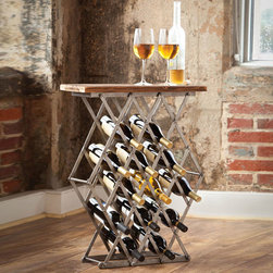 Crossbar Wine Rack Table - Even smaller spaces can enjoy this multifunctional table that's perfect for the wine enthusiast. Over a dozen bottles of your favorite varietals fit into the criss-crossed scissor-style metal bars of the table. Meanwhile, your glass rests safely on its handsome wood surface.