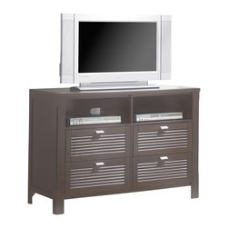Yuan Tai - Amherst Media Chest in Espresso Finish - Four drawers. Two media compartments. Warranty: Six months limited. Made from solid hardwoods and veneers. Made in Malaysia. No assembly required. 50 in. W x 20 in. D x 35 in. H (137.3 lbs.)