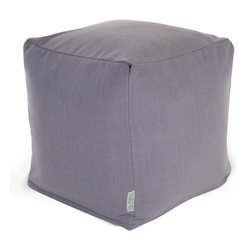 Majestic Home - Indoor Gray Wales Small Cube - A little bit of linen is all you need for a totally sophisticated look and feel. This update on the beanbag functions as a footstool, side table or comfy seat, kicking your favorite casual setting up a notch in style.