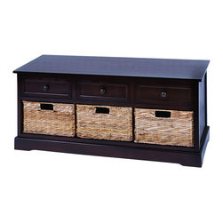 Benzara - Bench Type Cabinet With 3 Wicker Baskets - This cabinet is made with solid dark wood pieces treated for a soft to the touch feel. Included are 3 baskets that slide in and out side by side. And with such a beautiful look, you can enjoy this cabinet virtually anywhere and everywhere. Use it perfectly in the master bedroom or the spare guest room.