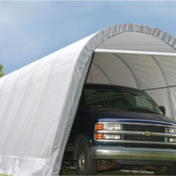 ShelterLogic - ShelterLogic 12 x 28 x 10 Round Top Canopy Carport - 90233 - Shop for Sheds and Storage from Hayneedle.com! The Shelter Logic 12 x 28 x 10 Roundtop Shelter has a rounded top to provide additional headroom. Made of a durable steel frame and a waterproof cover this canopy is designed to hold a car van farm equipment or items in storage. Both the front and rear doors are operational letting you access the canopy from both ends.Features:Every frame tube and connector goes through a proprietary 13-step Rhino Shield surface-preparation processHeavy-duty 1.625-inch all-steel frame is bonded with DuPont thermoset; baked-on powder-coated finish prevents chipping peeling rust and corrosionTriple-layer rip-stop polyethylene cover has hot air-fused seams to be 100% waterproofUV-treated inside and out with added fade blockers and anti-aging and anti-fungal agents which results in a cover that withstands the elementsHigh-profile white interior lining provides enhanced illuminationAssembles easily with slip-fit connectors and swedged tubing8-rib design and bolt hardware at every connection provide more stabilityRatchet-Tite tensioning system for quick and easy installation of the coverEasy-Slide Cross Rail system locks down and squares up coversDoor opening is 6W feet at the top 9.5W feet at the bottom and 8.83H feetAvailable in a variety of colors