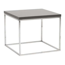 Eurostyle - Eurostyle Teresa Square Side Table in Gray Lacquer & Chrome - Square Side Table in Gray Lacquer & Chrome belongs to Teresa Collection by Eurostyle There's plain and there's perfect. This collection of 4 Teresa table designs are not only perfectly designed for strength and timeless style, they work beautifully together. Go for the group! Side Table (1)