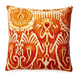 5 Surry Lane - Cerva Pumpkin Ikat Pillow - Bring the vividness of orange and pumpkin into your bedroom with this ikat-print reversible pillow. You'll love the variations in the coloring that bring depth and definition to the pattern.