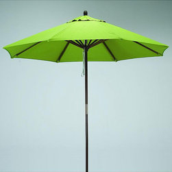 None - Round 9-foot Lime-Green Polyester/Hard Wood Patio Umbrella - You will have it made in the shade with this nine-foot wooden patio umbrella. This summertime must-have is crafted from lime-green polyester for long-lasting good looks and performance and is destined to become a favorite on the patio,deck,or porch.