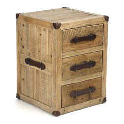 Kathy Kuo Home - Hudson Rustic Lodge Solid Chunky Wood 3 Drawer Nightstand - This pine nightstand's boxy shape and leather detailing are reminiscent of a vintage steamer trunk. Resilient and tough to withstand crossing an ocean, or more likely, the rigors of safeguarding your possessions. The natural beauty of the solid wood is front and center on this rustic beauty and makes it fit perfectly within your country cottage décor or industrial loft.