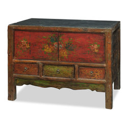 China Furniture and Arts - Hand Painted Mongolian Cabinet - Sporting a weathered and worn look, this unique cabinet's doors display a faded hand-painted ancient Chinese text framed by an elegant carved molding at the top and sides, adding to its rustic charm. Perfect as a sideboard in the dining room or media cabinet in the living room (cable outlet holes can be made upon request). Fully assembled.(Displayed accessories are not included.)