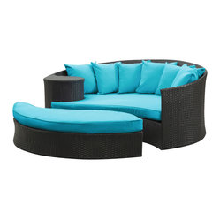 "LexMod - Taiji Outdoor Patio Daybed in Espresso Turquoise - Taiji Outdoor Patio Daybed in Espresso Turquoise - Harmonize inverse elements with this radically pleasing daybed set. Seven plush throw pillows adorn Taiji's thick all weather orange cushions allowing for the splendorous blending of mediating elements. Find the key to attainment as you bask in a charged and unified landscape of expansiveness. Set Includes: One - Taiji Outdoor Wicker Patio Daybed One - Taiji Outdoor Wicker Patio Ottoman Seven - Taiji Outdoor Wicker Patio Throw Pillows Synthetic Rattan Weave, Powder Coated Aluminum Frame, Water & UV Resistant, Machine Washable Cushion Covers, Ships Pre-Assembled Overall Product Dimensions: 71""L x 79""W x 29""H Daybed Dimensions: 71""L x 51""W x 29""H Ottoman Dimensions: 59""L x 28""W x 10""H Seat Height: 10""HBACKrest Height: 29""H - Mid Century Modern Furniture."