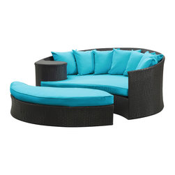"""LexMod - Taiji Outdoor Patio Daybed in Espresso Turquoise - Taiji Outdoor Patio Daybed in Espresso Turquoise - Harmonize inverse elements with this radically pleasing daybed set. Seven plush throw pillows adorn Taiji's thick all weather orange cushions allowing for the splendorous blending of mediating elements. Find the key to attainment as you bask in a charged and unified landscape of expansiveness. Set Includes: One - Taiji Outdoor Wicker Patio Daybed One - Taiji Outdoor Wicker Patio Ottoman Seven - Taiji Outdoor Wicker Patio Throw Pillows Synthetic Rattan Weave, Powder Coated Aluminum Frame, Water & UV Resistant, Machine Washable Cushion Covers, Ships Pre-Assembled Overall Product Dimensions: 71""""L x 79""""W x 29""""H Daybed Dimensions: 71""""L x 51""""W x 29""""H Ottoman Dimensions: 59""""L x 28""""W x 10""""H Seat Height: 10""""HBACKrest Height: 29""""H - Mid Century Modern Furniture."""