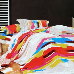 Blancho Bedding - Blancho Bedding -[Graffiti Art] Luxury 5PC Bed In A Bag Combo 300GSM (Twin Size) - Twin size contains a pillow sham, a fitted sheet, a duvet cover, a comforter and a pillow. Twin size comforter measures 67 by 87 inches with 40 oz hypo-allergenic breathable filling. This combo combines a duvet cover set, a down-alternative comforter and two pillows(one for Twin). Shrinkproof, anti-pilling and fading proof processes; 14 inches pocket size of the fitted sheet. Environment-friendly dyes; Fine and concentrated stitches; Machine washable and dryable.