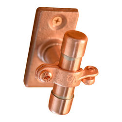 Nine & Twenty - Small Industrial Copper Cabinet Handle (Surface Mount) - Just like the other small cabinet handle, but this one mounts on a flange, and attaches via included screws.  No through-bolts necessary!