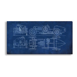 Gallery Direct - St. John's 'Racecar Blueprint' Gallery Wrapped Canvas, 10x20 - St. John's 'Racecar Blueprint' Gallery Wrapped Canvas is printed on artist grade canvas using high quality latex inks and comes ready to hang. It is the perfect way to add visual interest and depth to your home.