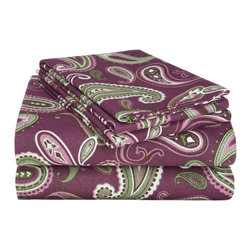 Flannel King Sheet Set Paisley - Purple - Our Flannel Sheets are made from premium quality cotton. The flannel is also thoroughly brushed in order to ensure optimal softness and comfort. Each Sheet set comes with a fitted sheet, a flat sheet, and two pillow cases (one pillowcase for Twin and Twin XL).