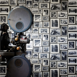 Kathy Kuo Home - Modern Studio Photograph Gallery Wallpaper - Charcoal - A contemporary photographic wallpaper featuring portraits and architecture set on a textured background. Fantastic for feature walls, hallways, stairs and landings. This is a construction print wallpaper printed over 3 rolls to give maximum repeat variation. Please note that this design is sold as a 3 roll pack.