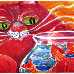 Caroline's Treasures - Big Red Cat At The Fishbowl Glass Cutting Board Large Size - Large Cutting Board .. . Made of tempered glass, these unique cutting boards are some of your favorite artists prints. 15 inches high and 12 inches long, they will beautify and protect your counter top. Heat resistant, non skid feet, and virtually unbreakable!