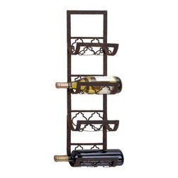 Benzara - Wine Racks - Metal Wall Wine Rack 28in.H, 8in.W - Size: 8 Wide x 5 Depth x 28 High (Inches)