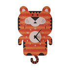 Tiger Pendulum Clock - The colorful tiger pendulum children's wall clock is the perfect adorable time-keeper to add a bit of whimsy and decorative fun to any nursery or kid's bedroom. It is also an enjoyable gift for a child or newborn.
