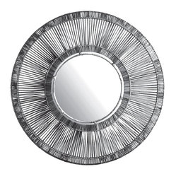 Black Split Rattan Spoke Mirror