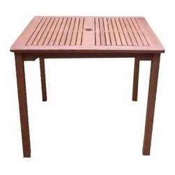 """Vifah - Ibiza Stacking Table - Ibiza square stacking outdoor table is finely crafted from durable sustainable eucalyptus wood that is naturally impervious to insect damage, mold, and mildew.  Slatted top allows water to drain and features a hole for umbrella installation. Wooden Table is expertly kiln-dried and extremely durable for outdoor/indoor use. Chairs not included. A hardwood growing naturally and plentifully in Asia Pacific protected forests. Mold, mildew, fungi, termites, rot and decay-resistant. Also environmentally-friendly and harvested from protected forests. Enjoy the good looks of an Adirondack style, the simple design will compliment any home exterior decor. Constructed of beautiful FSC High Density Eucalyptus (Shorea) wood, this lovely table will help you create a great look for your yard that is comfortable and versatile. 35.4 in. L x 35.4 in. W x 29.5 in. H (47 lbs.)Design: Enjoy the good looks of an Adirondack style, the simple design will compliment any home exterior decor. Comes with optional wood stain kits. Constructed of beautiful FSC High Density Eucalyptus (Shorea) wood, this lovely table will help you create a great look for your yard that is comfortable and versatile. Material: High Density Eucalyptus (or also known as Shorea in our line) is the premium grade of solid """"Eucalyptus Gradis"""" hardwood, grown in 100 % well managed forests in Brazil, certified by the FSC (Forest Stewardship Council). There is little difference between High Density Eucalyptus (Shorea) and Teak when broken down to their core essence. The biggest attribute of High Density Eucalyptus (Shorea) is undoubtedly the strength of the timber. It's renowned for its excellent resistance to every day wear and tear. It is extremely durable and tightly grained to produce a desirable density. It remains unaffected by all variations in weather, especially its resistance to damp conditions makes itself extremely competent at combating insect attacks and decay."""