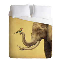 DENY Designs - Eric Fan Elephant And Bird Duvet Cover - Turn your basic, boring down comforter into the super stylish focal point of your bedroom. Our Luxe Duvet is made from a heavy-weight luxurious woven polyester with a 50% cotton/50% polyester cream bottom. It also includes a hidden zipper with interior corner ties to secure your comforter. It''_s comfy, fade-resistant, and custom printed for each and every customer.