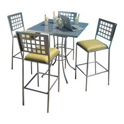 HomeCrest - Homecrest Manhattan Steel Urban Bar Set (ZMT-HMC9265) - The Homecrest Manhattan patio bar set with steel frame and urban styling. The bar set includes 4 Manhattan bar stools and the Homecrest 36 inch square embossed bar table. The Manhattan collection is great for residential or commercial spaces and is constructed to last a lifetime with its durable steel frame. The bar stools include a padded seat and convenient footrest for added comfort. The bar table features an embossed table top for bold styling.  Set Includes: