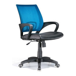 Lumisource - Officer Office Chair Blue - For management and administrative areas, a mid-height officer chair adds contemporary looks with a splash of blue. The back is mesh with a lumbar insert that curves to ergonomic standards. Seating is black leatherette matched by loop arms and a covered base. Work in comfort with this contemporary office chair. The Officer chair features a leatherette seat and colorful mesh back, lumbar support, 360 degree swivel, caster wheels for mobility, and adjustable tilt and tension, and armrests. Seat adjusts from 18 to 22 inches. 23 in. W x 19 in. D x 40 in. H