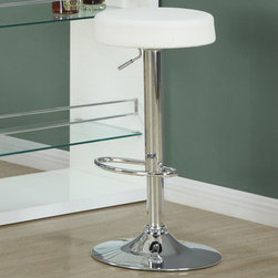 Monarch - White / Chrome Metal Hydraulic Lift Barstool / 2Pcs - Add a contemporary flair with this 2 piece hydraulic lift bar stool set. Its unique exquisetely cushioned white seat is comfortable and its sturdy chrome metal round base accentuate this piece. The convenient foot rest and 360 degree swivel bring a rich sensation and a high range elegance to all of your decor.