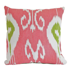 The Pillow Studio - Decorative, Designer Bansuri Ikat Pillow Cover in Green and Raspberry Kravet - Decorative, Designer Ikat Pillow Cover in Green and Raspberry Kravet Fabric- I just couldn't pass this Kravet fabric by; the colors are great!
