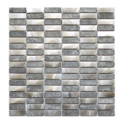 Stainless Steel Bricks And Gray Marble Mosaic Tile - This unique metal and stone mosaic tile is ideal for stainless steel backsplashes. This mosaic features medium sized brick shaped stainless steel tiles as well as gray marble stone mosaic tiles in a non staggered pattern. The mix of the stainless steel and stone give this metal mosaic tile a wonderful level of depth and a unique quality that can't be compared to plain single color tiles. The tiles in this sheet are mounted on a nylon mesh which allows for an easy installation.