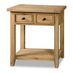 Hillsdale Furniture - Hillsdale Tuscan Retreat 2 Drawer Hall/Console Table in Light Weathered Pine - Tuscan Retreat TM accent pieces are authentic artisan interpretations of old world and cottage furniture.  Each piece is crafted from new and restored timbers to give it the appearance of a century old treasure.  The finished are hand prepared from the sanding and scrapping to the final steps.  Featuring solid wood throughout and old world cabinet construction.  Every detail is designed to bring you years of enjoyment.