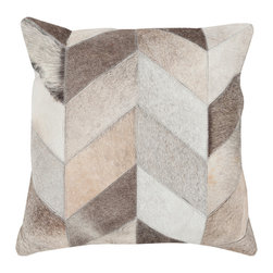 "Kathy Kuo Home - Dakota Rustic Lodge Chevron Hair on Hide Pillow - 18"" x 18"" - * 18 inches high x 18 inches wide"