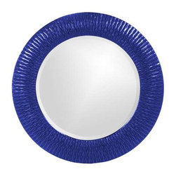 Howard Elliott Bergman Royal Blue Small Round Mirror - This round, resin mirror is painted in a glossy royal blue giving the piece textured, starburst effect.