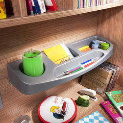 Modern Wood - Contemporary design meets industrial strength with this desk. Wood finish and metal accents. Grey plastic shelf keeps pens and pencils easy to find.